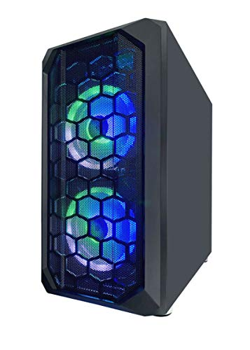 Apevia PRODIGY-BK Micro-ATX Gaming Case with 1 x Tempered Glass Panel, Top USB3.0/USB2.0/Audio Ports, 3 x RGB Fans, Black Frame