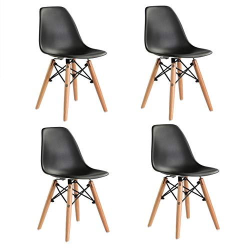 Plastic Chair Family Modern Leisure High Back Wooden Leg Plastic Dining Chair for Kitchen Restaurant/Office/Cafe and Dessert Shop/Indoor and Outdoor (Black)