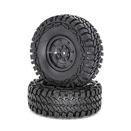 QiKun-Home 1.9'1/10 RC Crawler Truck Wheels Neumáticos Llantas de Metal Beadlock y neumáticos de 115MM para RC Rock Car Accesorios Negro Cubo Cerrado