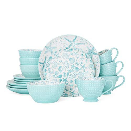 Pfaltzgraff Venice 16-Piece Stoneware Dinnerware Set, Service for 4, Aqua/White - 5217125
