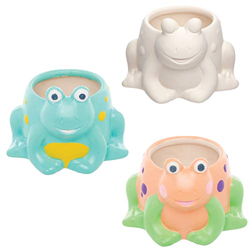 Baker Ross AT571 Frog Ceramic Flowerpots - Pack of 2, Planters for Kids to Paint, Decorate and for STEM Learning Activities