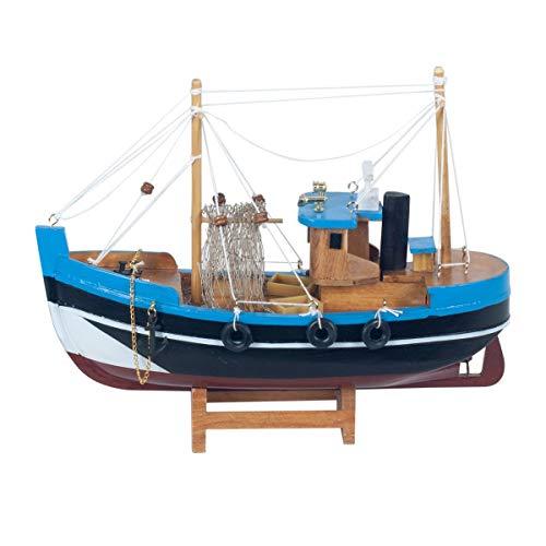 Vidal Regalos Figura Decorativa Barco Pesquero Azul Adorno Maqueta Miniatura Pesca 23...