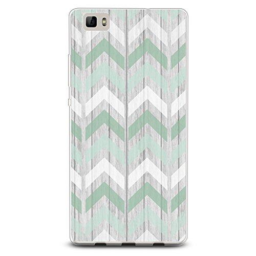 CasesByLorraine Funda compatible con P8 Lite, color verde menta, estampado geométrico de madera de cheurón, flexible, TPU suave, protector de gel para Huawei P8 Lite (2015)
