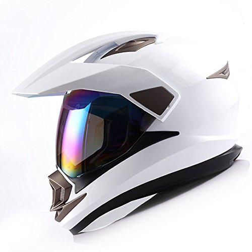 Dual Sport Helmet Motorcycle Full Face Motocross Off Road Bike Glossy White,Size XL