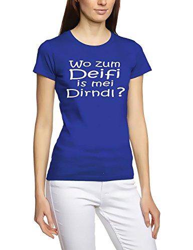 Wo zum DEIFI is MEI Dirndl ? Girly Oktoberfest Wiesn T-Shirt Blau-Weiss Gr.S