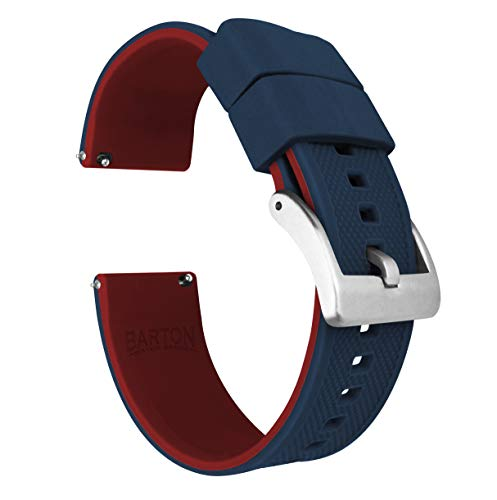 22mm Navy Blue / Crimson Red - BARTON Elite Silicone Watch Bands - Quick Release - Choose Strap Color & Width