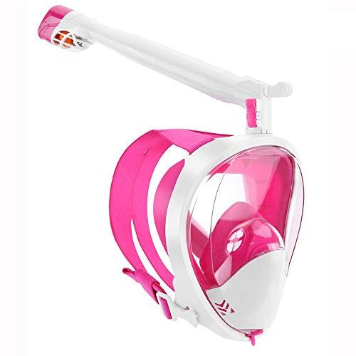 GGXX Máscara esnórquel Cara Completa Vista panorámica de 180 ° Sistema respiración Segura Máscara Buceo con Tiras Ajustables y Montaje cámara acción Juego antivaho y antifugas