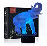Bedoo Night Light 3D Elephant Led Illusion Lamp, Desk Lights Dimmable 16 Color Changing Smart Touch, Home Bedroom Decoration Gift for Girls Boys