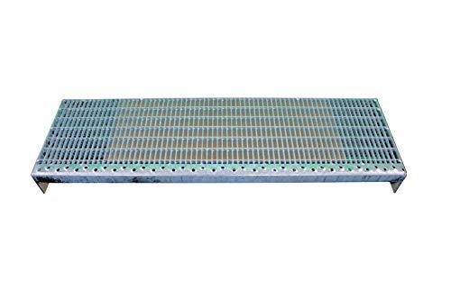 Einpress Treppenstufen Maschenweite 30x10 MW30/10 verschiedene Maße feuerverzinkt mit Antrittskante (900 x 270 mm)