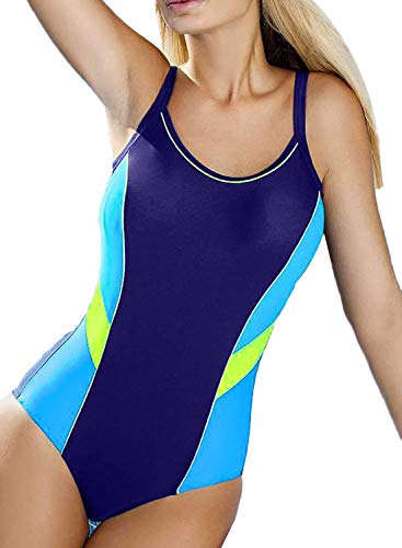 Aleumdr Women's One Piece Swimsuits for Women Athletic Training Swimsuits Swimwear Bathing Suits for Women Blue Medium 8 10