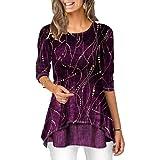 Blusa con Estampado Vintage de Moda de Longitud Media para Mujer Camiseta clásica con Cuello Redondo Personalidad Dobladillo Irregular Manga 3/4 Todo fósforo Túnica Pullover XL