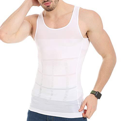 JQ JQAMAZING Mens Slimming Body Shaper Vest Abdomen Slim Shirt Compression Tank Shaperwear (Medium, White-1)