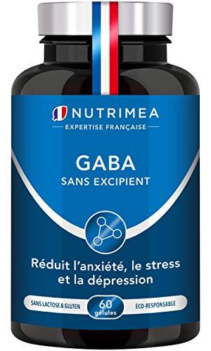 GABA 750 mg/j - Diminution du stress et de l'anxiété - Favorise le sommeil - Calme et sérénité - 60 gélules vegan - Fabrication Française