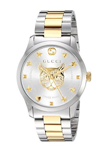 Gucci Hombre Reloj G-Timeless 38 mm de Acero Inoxidable de Oro felino YA1264074