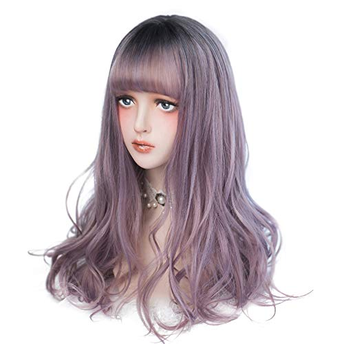 aiyaya Long Curly Wig - Natural Synthetic Hair Lolita Wigs with Wig Cap For Cosplay and Daily Wear (Ombre Purple)