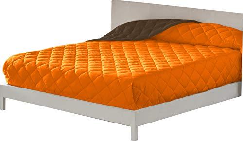 Lucena Cantos - Colcha Verano, Fibra 60 gr, Bicolor (Naranja/Choco, Cama 135, 235 x 270)