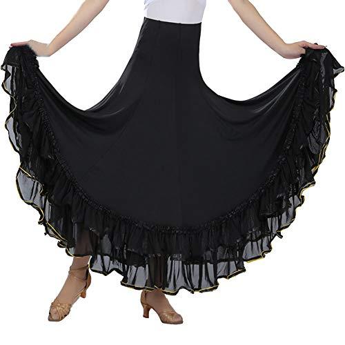 Damen Flamenco Dance Lange Rock Maxirock Tanzrock Faltenrock Tango Latein Walzer Bauchtanz Ballroom Wettbewerb Kostüm Schwarz Einheitsgröße