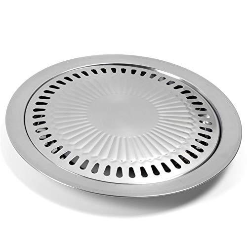 Modonghua BBQ Grill Tray Pan, piano cottura in stile coreano, piastra antiaderente in acciaio inox per interni ed esterni, campeggio, barbecue per cucinare deliziosi arrosti (come mostrato)