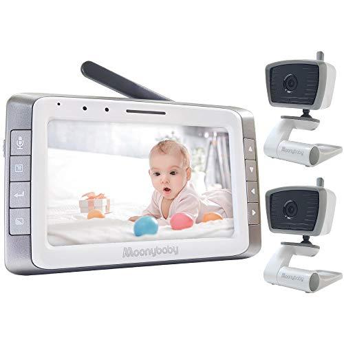 """moonybaby Vigilabebés con video con 2 cámaras, pantalla grande de 5"""", batería de larga duración, largo alcance, sin WiFi, visión nocturna automática, respuesta, VOX"""