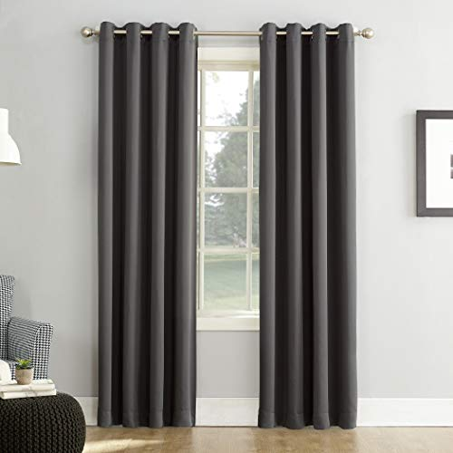 "Sun Zero Easton Blackout Energy Efficient Grommet Curtain Panel, 54"" x 95"", Charcoal Gray"