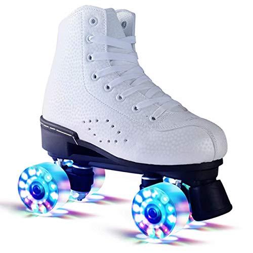 LXC Disco Roller, Adult Rollschuhe zweireihigen Vierradrollschuhe spezielle Skates Flash-Riemenscheibe, für die Unisex Anfänger, weiß-41