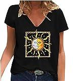 Camiseta de verano para mujer, cuello en V, manga corta, diseño con estampado de sol, luna, camiseta básica, informal, moda digital, para adolescentes, niñas, túnica, talla grande Negro XXL