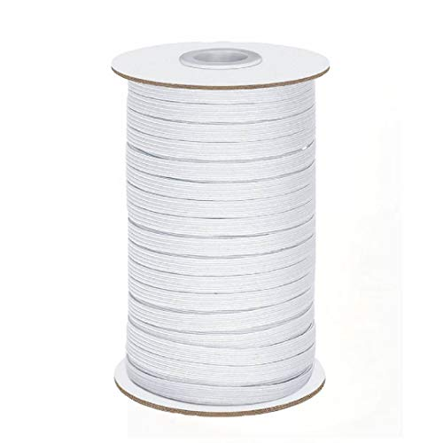 1/4' Wide 100 Yards Black Heavy Stretch Knit Elastic Band, Elastic Cord, Elastic Rope for DIY, Arts and Crafts (White)