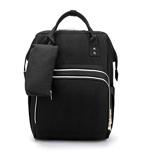 YUN Backpacks@ Mochilas para Pañales Bolsa con USB Puerto De Carga, Multifuncional De Gran Impermeable Capacidad Bolsos, Ganchos De Cochecito Y Bolsa De Preservación De Calor, Capacidad De 17 L, Black