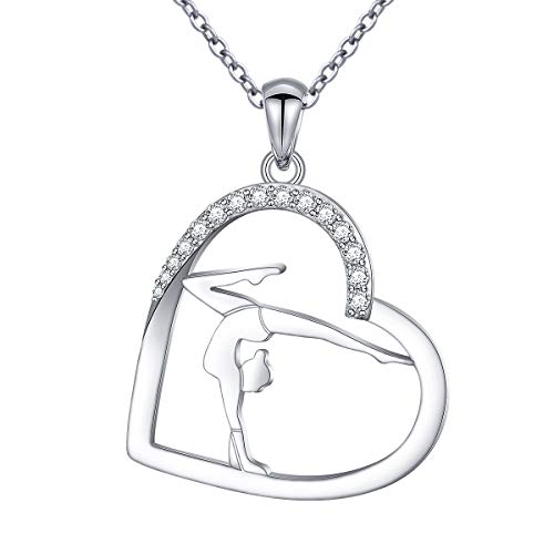 S925 Sterling Silver Gymnastics Sport Love Heart Charm Pendant Necklace Inspirational Jewelry Gifts for Women,Gymnasts, Coaches