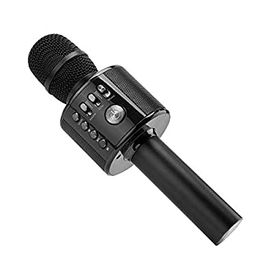 Ankuka Wireless Karaoke Microphones Speaker, 4 in 1 Handheld Portable Bluetooth Home KTV Player, Superior Audio Quality for Singing & Recording, Compatible with Android & iOS (Black)
