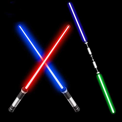 VLSEEK Laser Sword Light Up Saber, Upgrade 2-in-1 7 Color Changing LED Light Up FX Dual Saber Sound (Motion Sensitive) for Galaxy War Fighters and Warriors, Stocking Ideal Kid Xmas Gift (2 Pack)