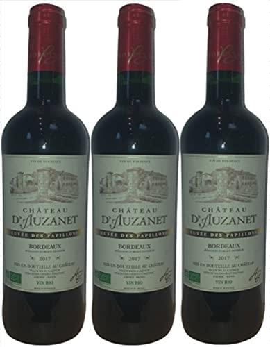 Burdeos rojo BIO - Castillo d'Auzanet 2017 - AOC - Clásico de mariposas - lote de 3 botellas.