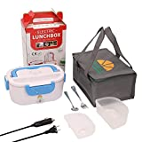 Electric Lunch Box, 3 in 1 Upgrade Car & Truck & Home Portable Food Heater 2 Compartments, 12V & 24V & 110V Mini Lunchbox with 304 Stainless Steel Fork & Spoon and Carry Bag (Blue)