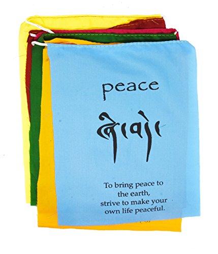 Tibetische Gebetsfahne, Himalaya-Lungta-Windpferd, hängendes Banner an einer Schnur zur Dekoration, von Mudra Crafts Tibetische Affirmation