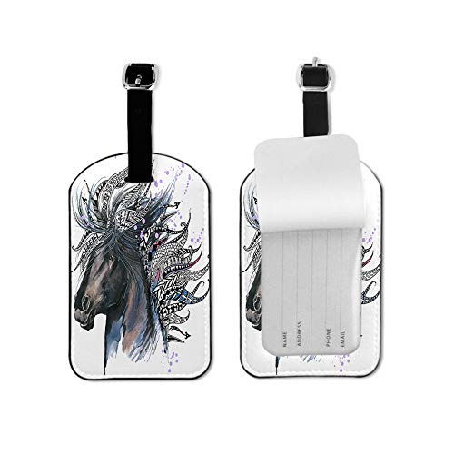 Unicorn Luggage Tag Animal Head Beautiful Feathers Ethnic Ornament Watercolor Design Travel ID Label Leather for Baggage Suitcase Travel Accessories Bag Name Tags 1 Piece