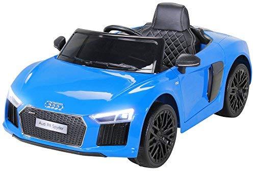 Actionbikes Motors Kinder Elektroauto Audi R8 Spyder - Lizenziert - 2 x 45 Watt Motor - Rc 2,4 Ghz Fernbedienung - Eva Vollgummireifen - USB - Softstart - Elektro Auto für Kinder ab 3 Jahre (Blau)