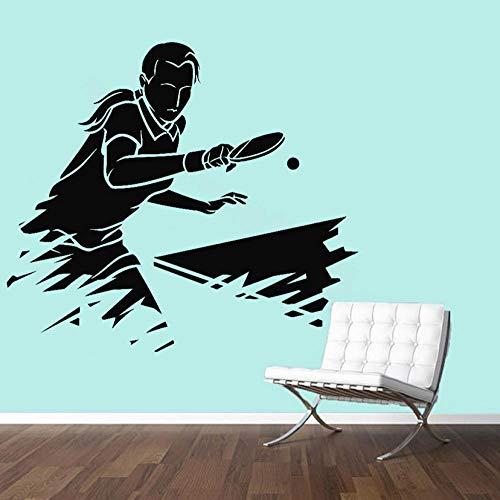 Wandaufkleber Ping Pong Sport Wandaufkleber Für Fitnessraum Tischtennis Athlet Spiel Vinyl Wandtattoo Wohnzimmer Kinderzimmer Dekoration 42x47 cm