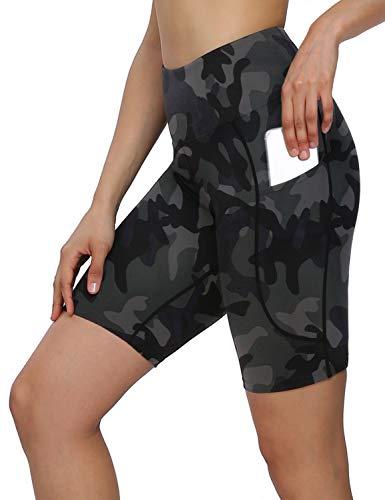 MOVE BEYOND 8'' Pantalones Cortos Deportivo para Mujer con 2 Bolsillos Laterales Cintura Alta para Yoga Correr Ejercicio, Camuflaje, XXL