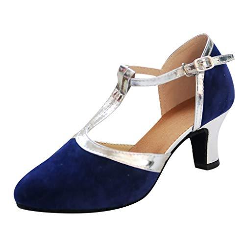 Zapatos de tacón Honestyi Salón de Baile de Mujer Piel de Charol en Punta Rumba Dance Shoes Cabeza Redonda Salvaje Bowknot de Cristal Zapatos de Trabajo