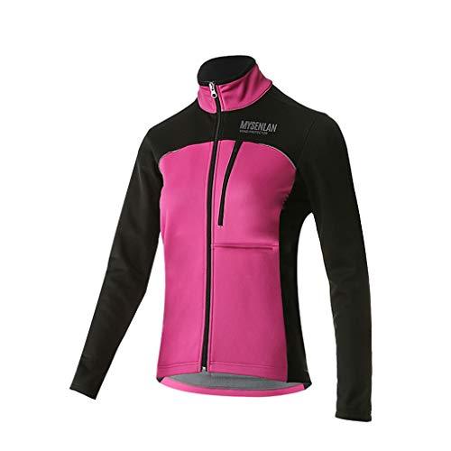 MYSENLAN Damen Fahrradjacke - Winddichte wasserdichte Fleecejacke - MTB Mountainbike Jacket - Visible reflektierend Fleece Warm Softshell Jacke für Herbst