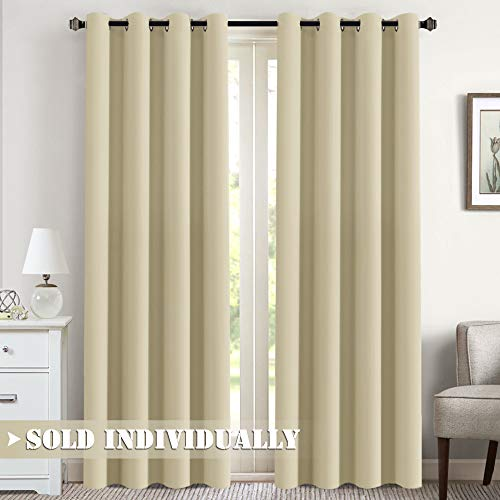 """Flamingo P Blackout Curtain for Bedroom/Living Room Thermal Insulated Energy Efficient Window Treatment Curtain Drapes Draperies Soft Thick Smooth Room Darkening Single Panel 52"""" W x 84"""" L, Beige"""