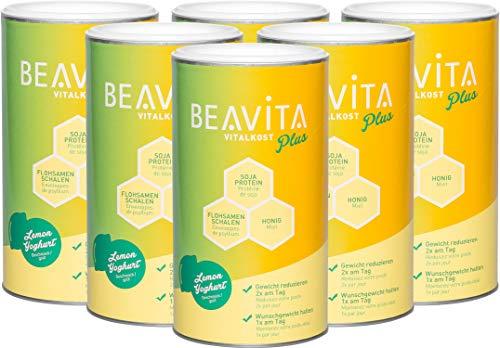 BEAVITA Vitalkost Plus - 6x 572g Zitrone Joghurt Mix - lecker Diät-Shake für unbeschwertes Abnehmen - Abnehmshake reicht für 4 Wochen - Kalorien sparen & Gewicht reduzieren - 22 Vitamine & Mineralien