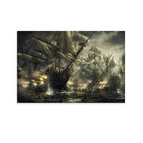DSADGHHF Póster medieval de embarcaciones marítimas pintura decorativa lienzo pared arte sala de estar carteles dormitorio pintura 60 x 90 cm