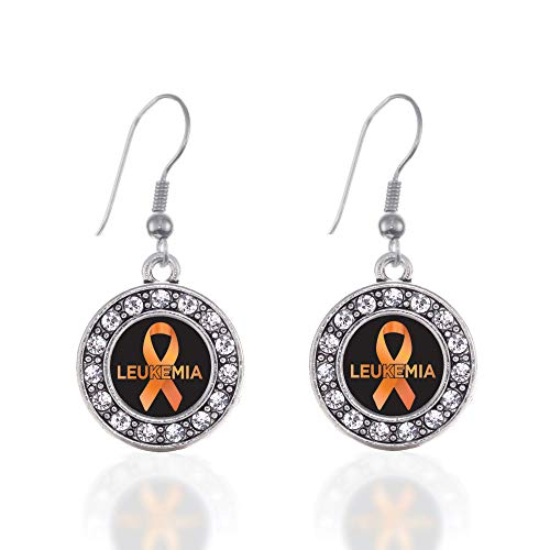 Inspired Silver - Leukemia Support Charm Earrings for Women - Silver Circle Charm French Hook Drop Earrings with Cubic Zirconia Jewelry