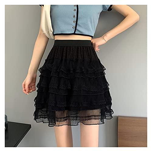 chushi Vestidos de Mujer Falda De Mujer Verano Moda Coreana Kawaii Mini Faldas Encaje Negro Blanco Dulce Y Lindo Estudiante Falda De Cintura Alta Vestido de Novia Zzib