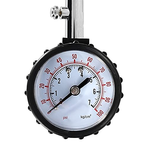 MCYAW Medidor de medidor de presión de neumáticos de Tubo Largo 0-100psi Tesco de presión de Aire de neumático de Alta precisión para Motocicleta de automóviles Universal (Color : Black)