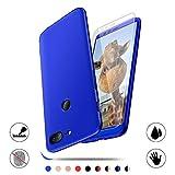 AChris Oneplus 5T Funda Phone Case con Vidrio Templado Pantalla Protector 3 en 1 Caso Cover Duro PC Thin Shockproof Anti Huella Digital- Azul