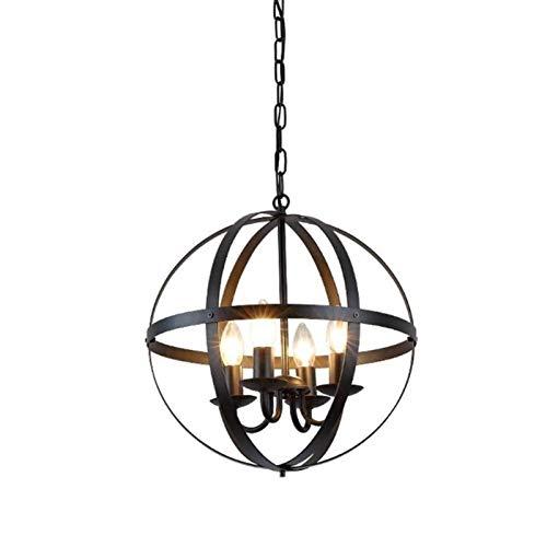 BJClight Lámpara de pared para interiores, candelabros de globo industrial de 4 luces, granja negra, vintage, E14, portalámparas, lámpara colgante de techo, luz de metal