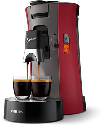 Philips Senseo Select CSA240/90 - Cafetera de monodosis (selección de intensidad, función de memoria, plástico reciclado), color rojo