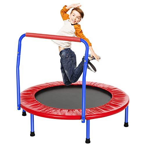 ANCHEER Kindertrampolin Trampolin Kinder Indoor Mit Haltegriff,Minitrampolin Durchmesser Ca. 91cm, Belastung Bis 75kg (Rot)